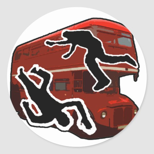 Double-decker Bus Classic Round Sticker