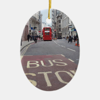 Double decker bus in London Ceramic Ornament