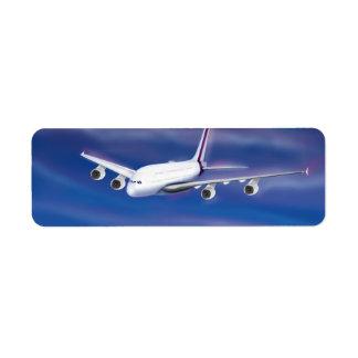 Double Decker Commercial Airplane Return Address Label