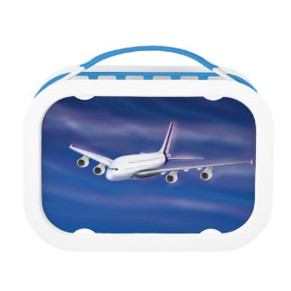 Double Decker Commercial Airplane Lunch Box