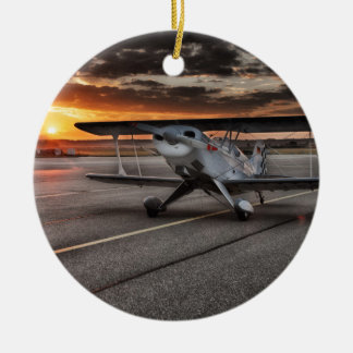 Double decker propeller plane on runway ceramic ornament