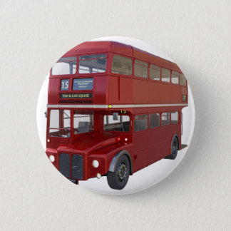 Double Decker Red Bus in Front Profile Pinback Button