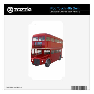 Double Decker Red Bus in Front Profile Skin For iPod Touch 4G