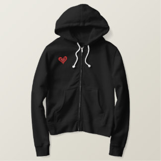 Double Deco Heart Just Married Love Design Embroidered Hoodie