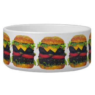 Double Deluxe Hamburger & Cheese Large Pet Bowl