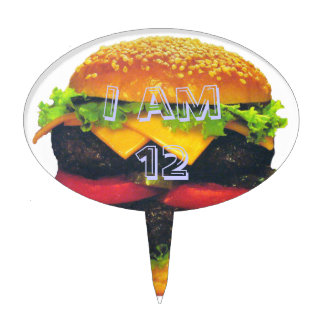 Double Deluxe Hamburger with Cheese Cake Topper