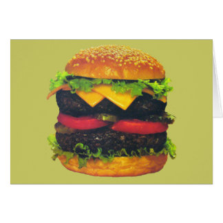 Double Deluxe Hamburger with Cheese Stationery Note Card