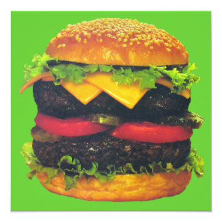 Double Deluxe Hamburger with Cheese 5.25x5.25 Square Paper Invitation Card