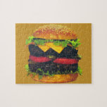 """Double Deluxe Hamburger with Cheese Jigsaw Puzzle<br><div class=""""desc"""">Are you hungry for a double patty hamburger with cheese,  lettuce,  pickles,  tomatoes and topped on a sesame seed bun? Then this one is for you. My Other Stores:</div>"""