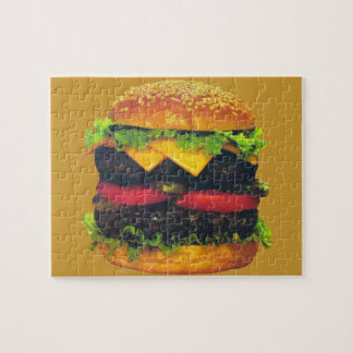 Double Deluxe Hamburger with Cheese Jigsaw Puzzle