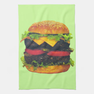 Double Deluxe Hamburger with Cheese Kitchen Towel