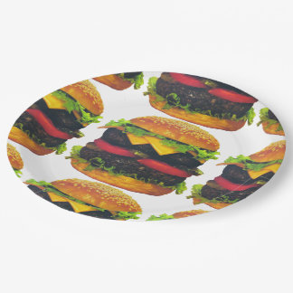 Double Deluxe Hamburger with Cheese Paper Plates