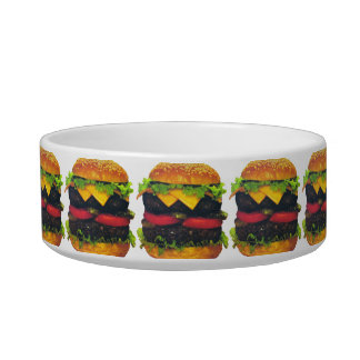 Double Deluxe Hamburger with Cheese Pet Bowl