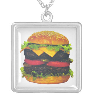 Double Deluxe Hamburger with Cheese Silver Plated Necklace