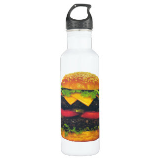 Double Deluxe Hamburger with Cheese Stainless Steel Water Bottle