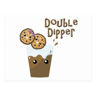 Double Dipper Cookies N Milk Postcard