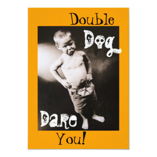 Double Dog Dare Pouting Boy Halloween Invitation