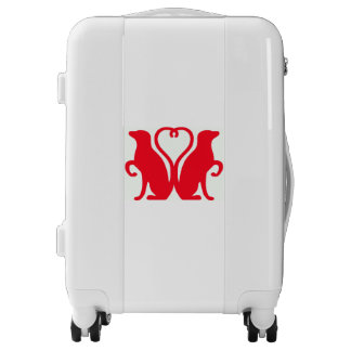 DOUBLE DOGS OF LOVE carry on white luggage