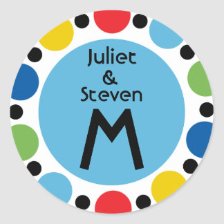 Double Dot Monogram sticker with 5 primary colors