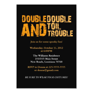Double Double Toil & Trouble | Halloween Party Card