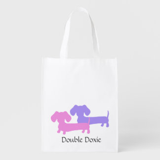 Double Doxie Dachshund Tote Bag Grocery Bags