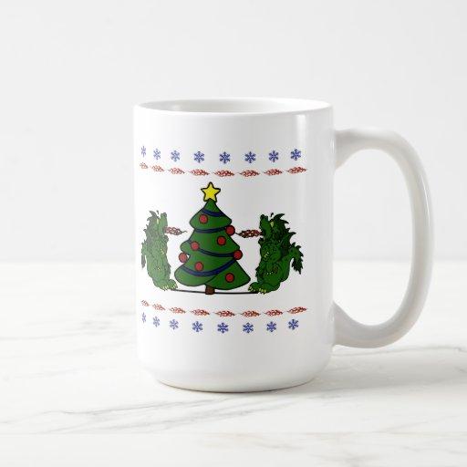 Double Dragon Christmas Tree Ugly Sweater Design Coffee Mug
