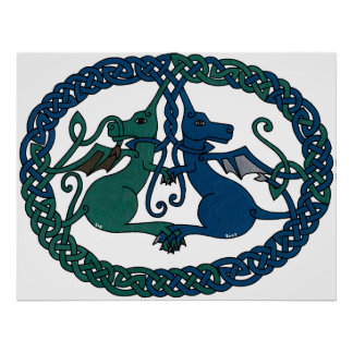 Double Dragon Crest print