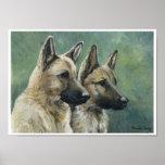 """Double Duty"" German Shepherd Print of Oil Paintin"