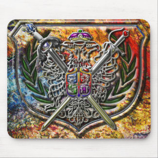 Double Eagle & Crossed Swords Shield Crest Mouse Pad