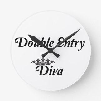 Double Entry Diva Round Clock