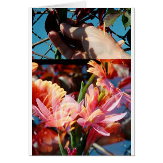 Double Exposed Hand & Flowers Card