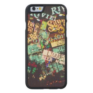 Double exposure, casino signs, Las Vegas, Carved® Maple iPhone 6 Case