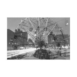 double exposure coney island - NYC Street lights Canvas Print