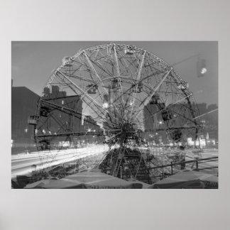 double exposure coney island - NYC Street lights Poster