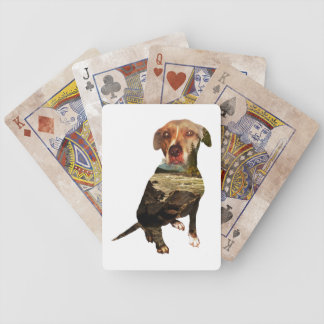 double exposure dog bicycle playing cards