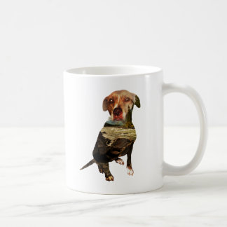 double exposure dog coffee mug