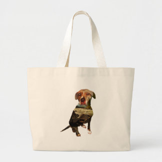 double exposure dog large tote bag