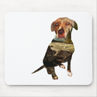 double exposure dog mouse pad