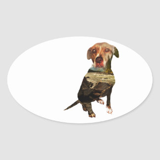 double exposure dog oval sticker