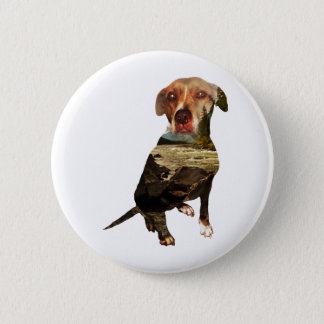 double exposure dog pinback button