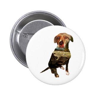 double exposure dog pinback button