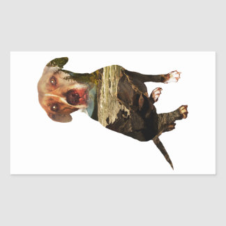double exposure dog rectangular sticker