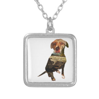 double exposure dog silver plated necklace