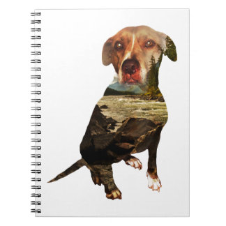 double exposure dog spiral notebook