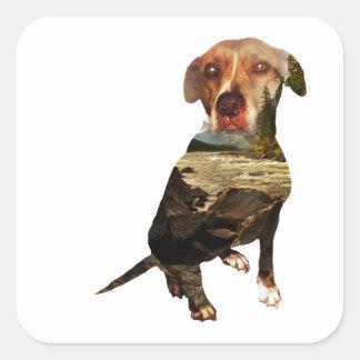 double exposure dog square sticker