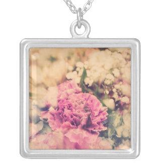 Double Exposure Flower Square Pendant Necklace