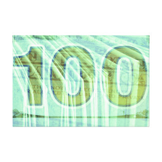 Double exposure hundred dollar bill background canvas print