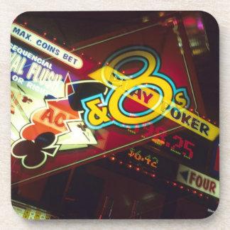 Double exposure, interior Casino, Las Vegas, Drink Coaster
