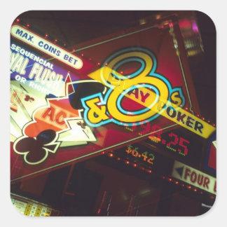 Double exposure, interior Casino, Las Vegas, Square Sticker