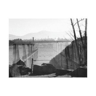 double exposure NYC skyline and bridge Canvas Print